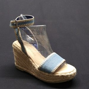 Shoes - MATISSE Denim Esperilla Wedge Sandals Size 6